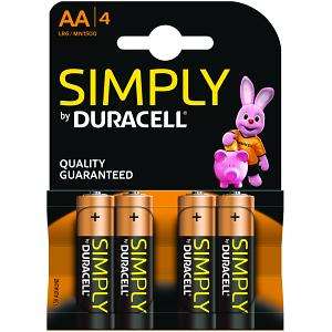 Duracell Simply AA pack of 4 Batteries (MN1500B4S)