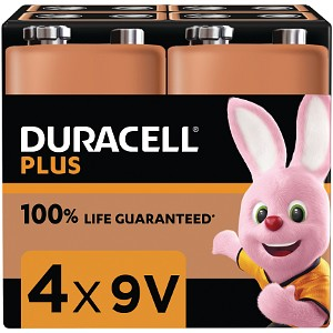 Duracell Plus Power 9v PP3 Battery Pack of 4 (MN1604B4)