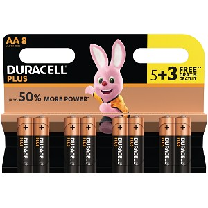 Duracell Plus Power AA Batteries 5 Pack + 3 Free (MN1500B5+3)