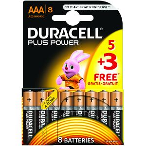 Duracell Plus Power AAA 5 Pack + 3 Free (MN2400B5+3)
