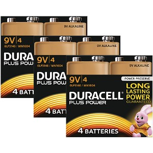 Duracell Plus Power 9v Battery Pack of 12 (MN1604-X12)
