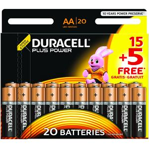 Duracell Plus Power AA Batteries 20 Pack (MN1500B15+5)
